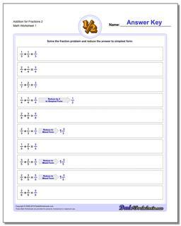 Adding Fraction Worksheets Addition Worksheet for 2