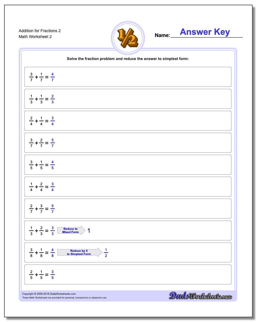 Addition Worksheet for Fraction Worksheets 2 www.dadsworksheets.com/worksheets/fraction-addition.html