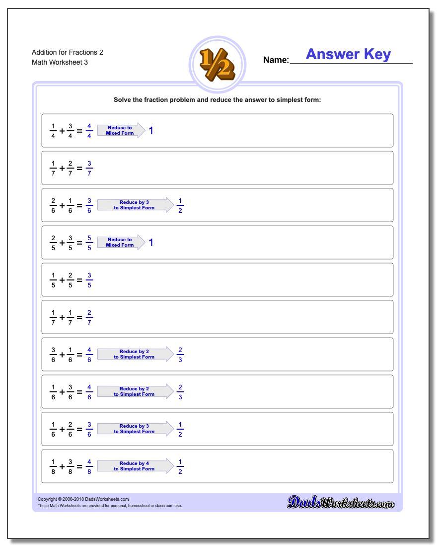 Addition Worksheet for Fraction Worksheets 2