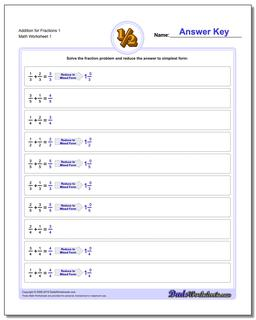 Fraction Worksheet Addition Worksheet