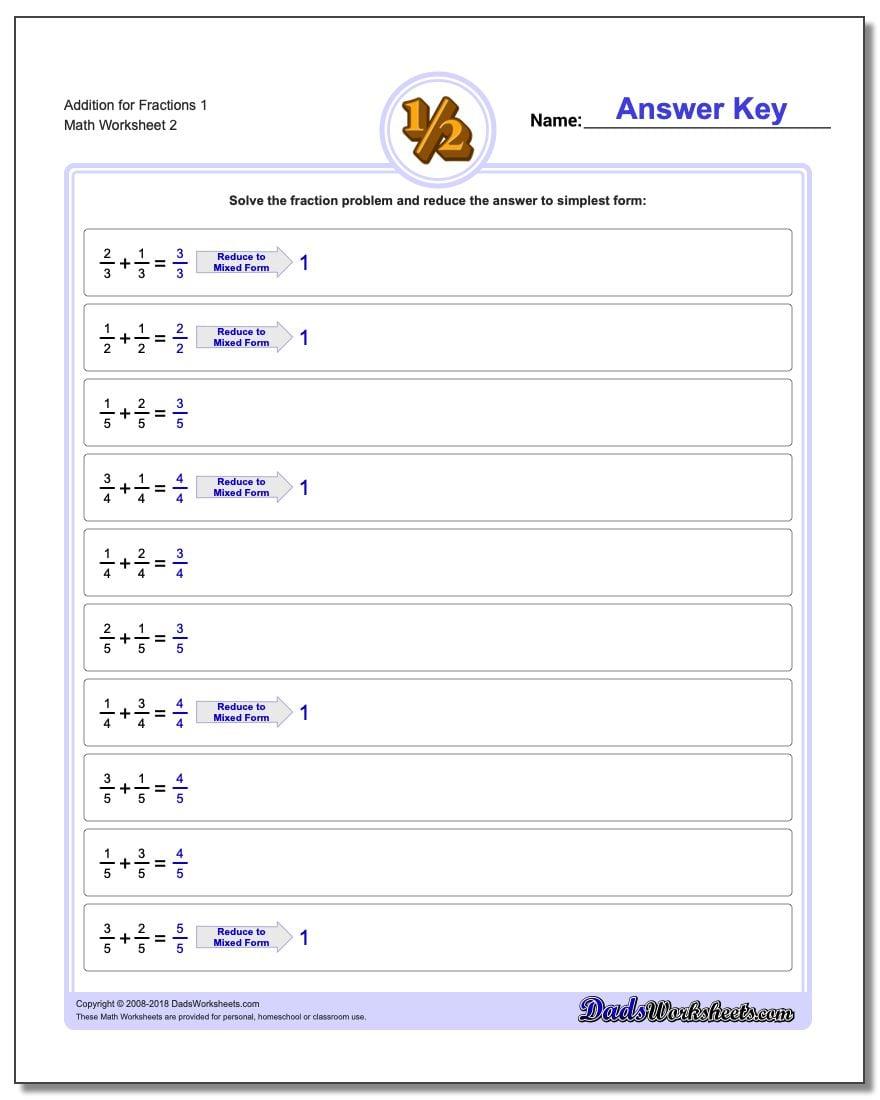 Addition Worksheet for Fraction Worksheets 1 www.dadsworksheets.com/worksheets/fraction-addition.html