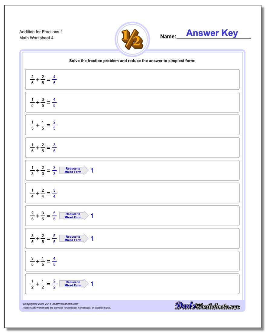 Addition Worksheet for Fraction Worksheets 1