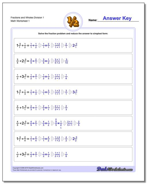 Dividing Fraction Worksheets and Wholes Division Worksheet 1