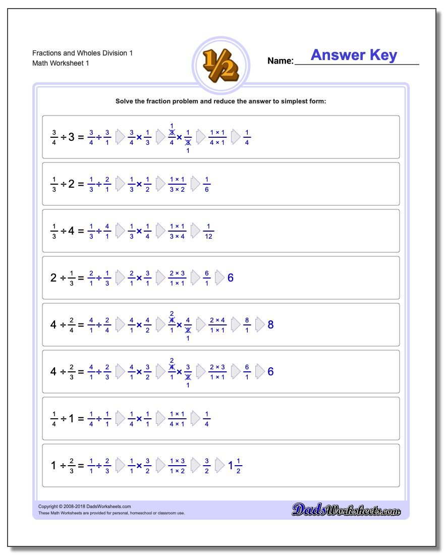 Fraction Division – Worksheet on Dividing Fractions