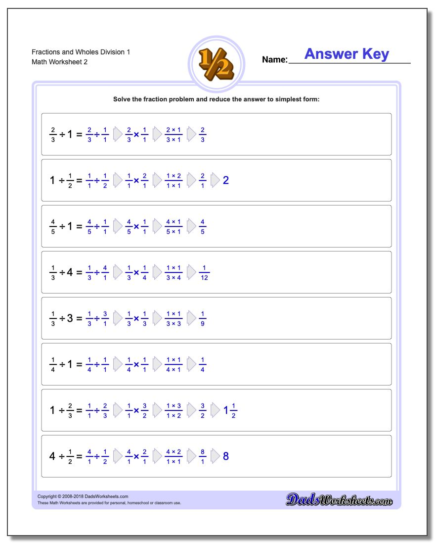 Fraction Worksheets and Wholes Division Worksheet 1 www.dadsworksheets.com/worksheets/fraction-division.html