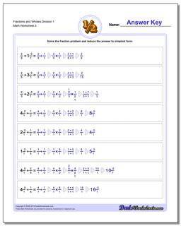 Fraction Worksheets and Wholes Division Worksheet 1