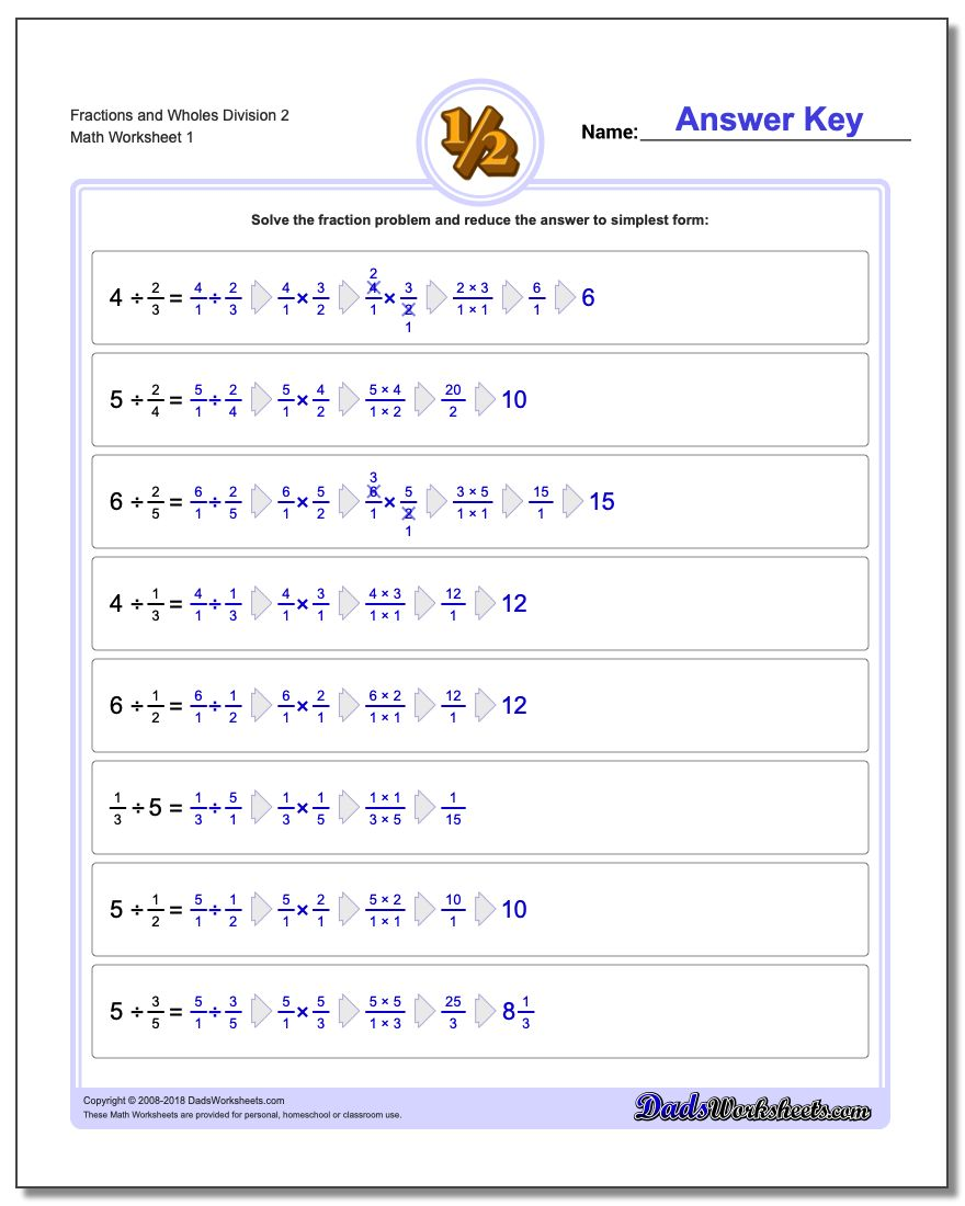 Dividing Fraction Worksheets and Wholes Division Worksheet 2