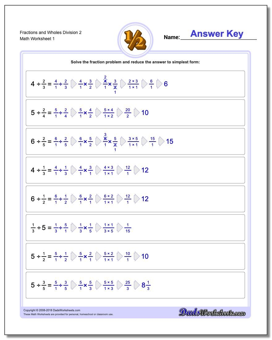 Fraction and Wholes Division – Multiplying and Dividing Fractions Worksheet