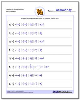 Fraction Worksheets and Wholes Division Worksheet 2
