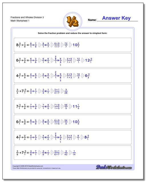 Dividing Fraction Worksheets and Wholes Division Worksheet 3