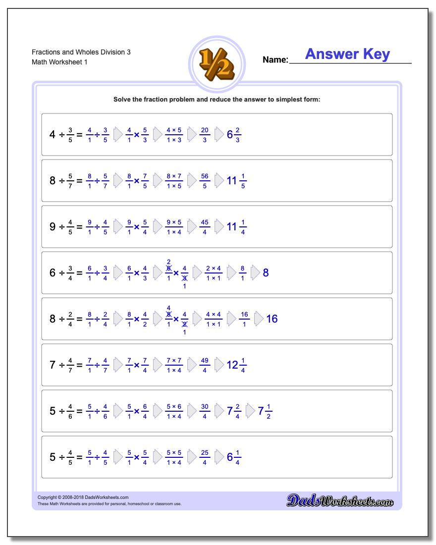 Fraction and Wholes Division – Division Fractions Worksheet
