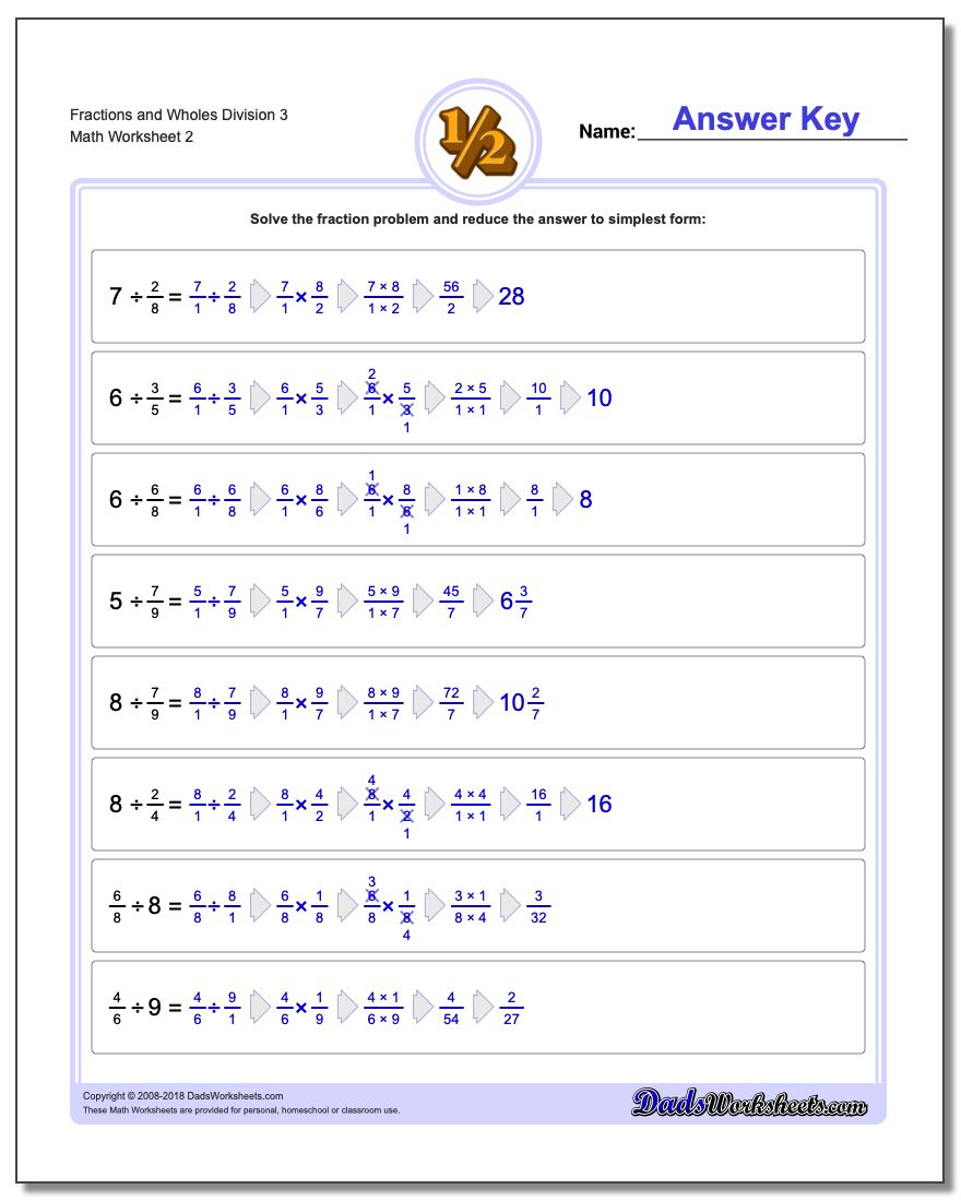 Fraction Worksheets and Wholes Division Worksheet 3 www.dadsworksheets.com/worksheets/fraction-division.html