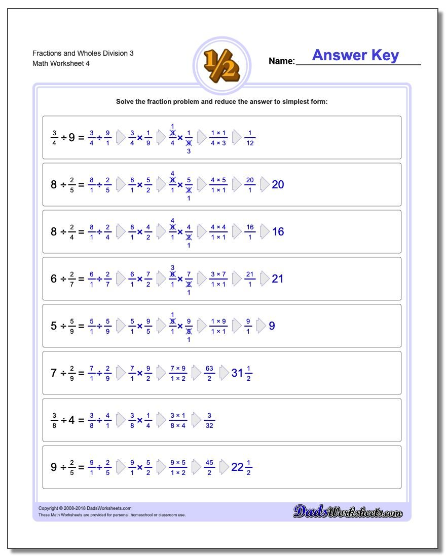 Fraction Worksheets and Wholes Division Worksheet 3