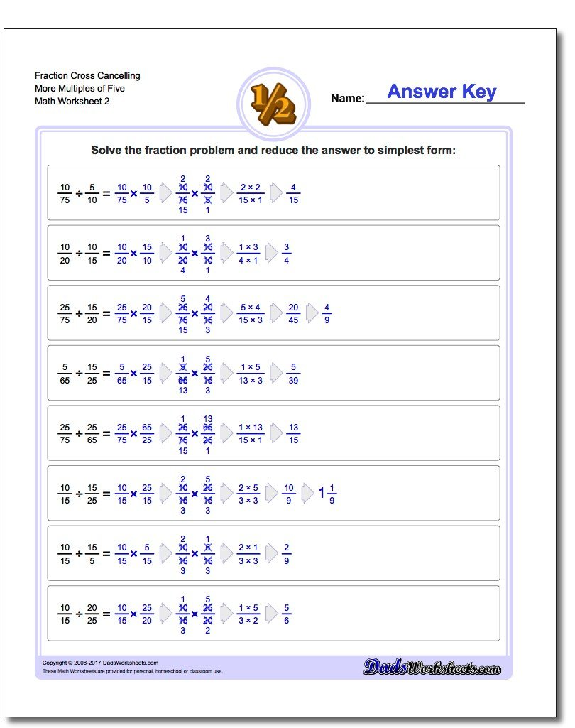 Fraction Worksheet Cross Cancelling More Multiples of Five www.dadsworksheets.com/worksheets/fraction-division.html