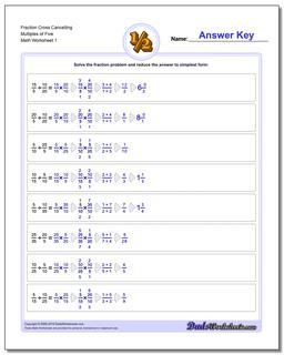 Fraction Worksheet Cross Cancelling Multiples of Five Dividing Fractions