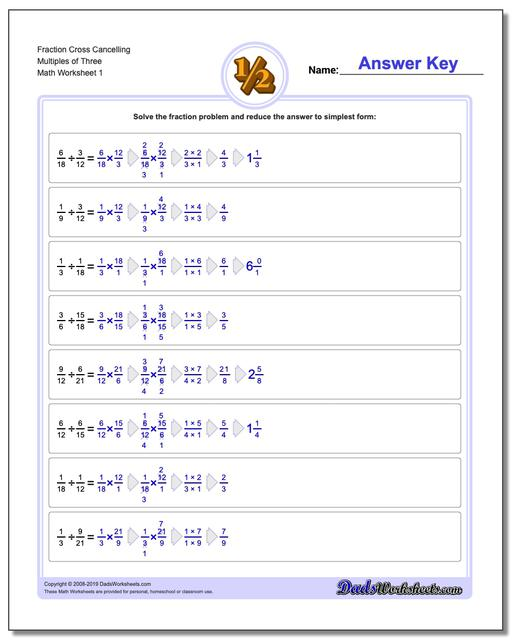 Fraction Worksheets Cross Cancelling Multiples of Three Dividing Fractions