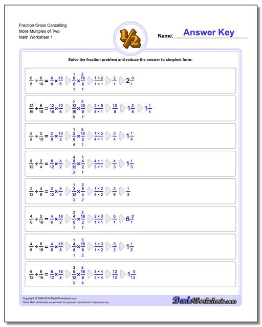 Fraction Worksheets Cross Cancelling More Multiples of Two Dividing Fractions