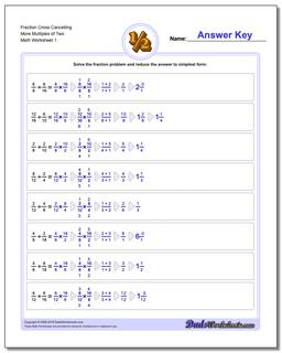 Fraction Worksheet Cross Cancelling More Multiples of Two Dividing Fractions