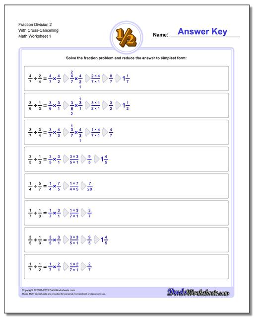 Fraction Worksheets Division Worksheets 2 With Cross-Cancelling Dividing Fractions