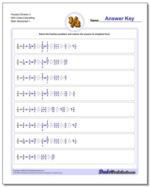 Fraction Worksheets Division Worksheets 4 With Cross-Cancelling Dividing Fractions