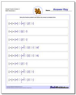 Simple Fraction Worksheet Division Worksheet 2 www.dadsworksheets.com/worksheets/fraction-division.html