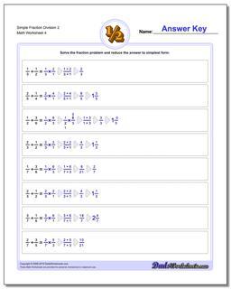 Simple Fraction Worksheet Division Worksheet 2