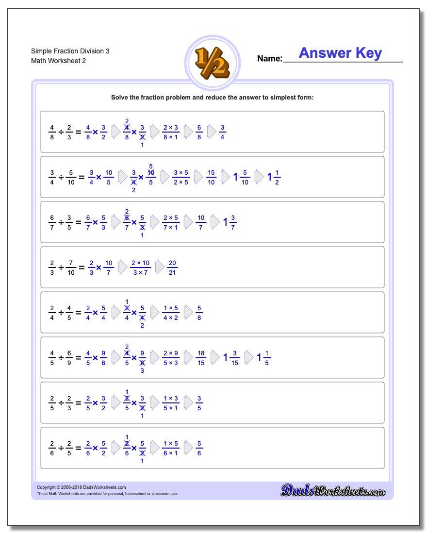 Simple Fraction Worksheet Division Worksheet 3 www.dadsworksheets.com/worksheets/fraction-division.html