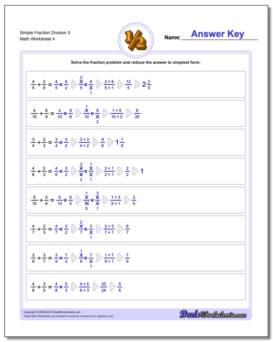 Simple Fraction Worksheet Division Worksheet 3