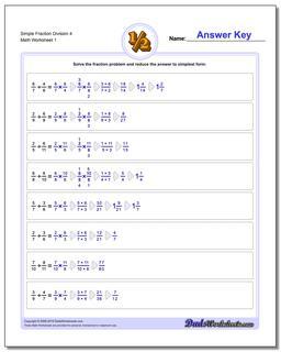 Simple Fraction Worksheet Division Worksheet 4 Dividing Fractions