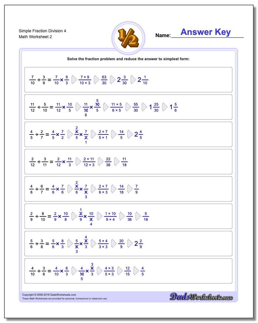 Simple Fraction Worksheet Division Worksheet 4 www.dadsworksheets.com/worksheets/fraction-division.html