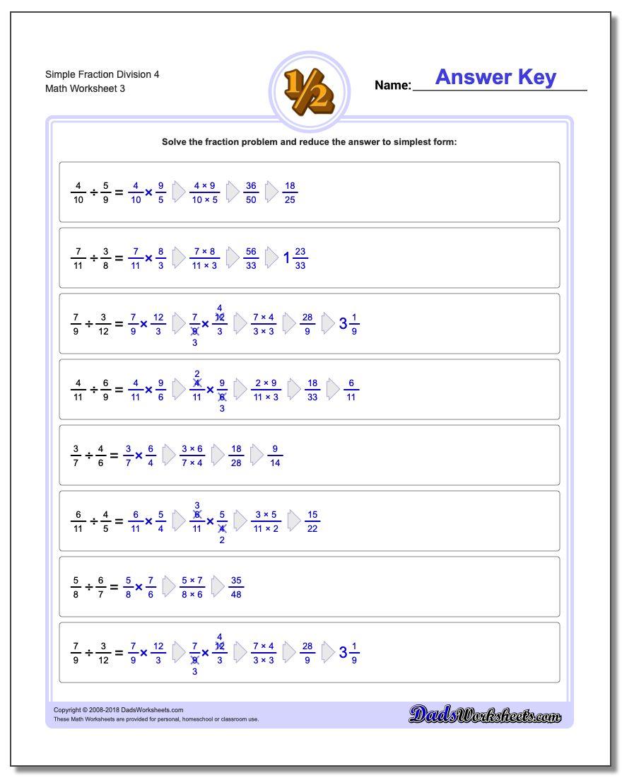 Simple Fraction Worksheet Division Worksheet 4