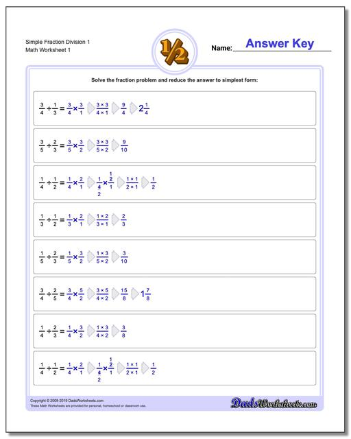 Fraction Worksheets Division Worksheets Simple