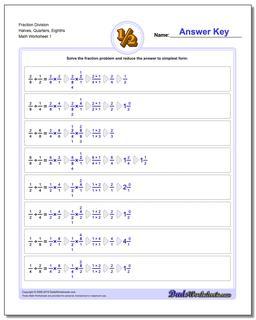 Fraction Worksheet Division Worksheet Halves, Quarters, Eighths Dividing Fractions