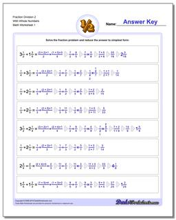 Fraction Worksheet Division Worksheet 2 With Whole Numbers Dividing Fractions