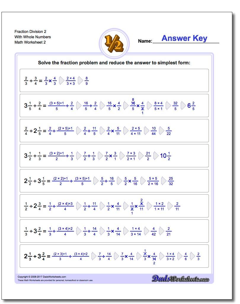 Fraction Worksheet Division Worksheet 2 With Whole Numbers www.dadsworksheets.com/worksheets/fraction-division.html