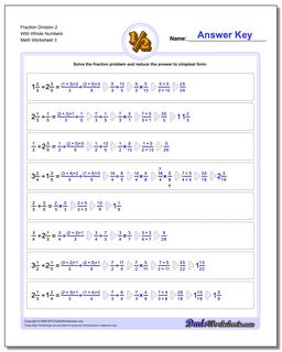 Fraction Worksheet Division Worksheet 2 With Whole Numbers