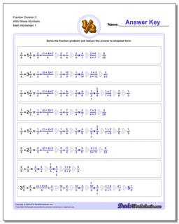 Fraction Worksheet Division Worksheet 3 With Whole Numbers Dividing Fractions
