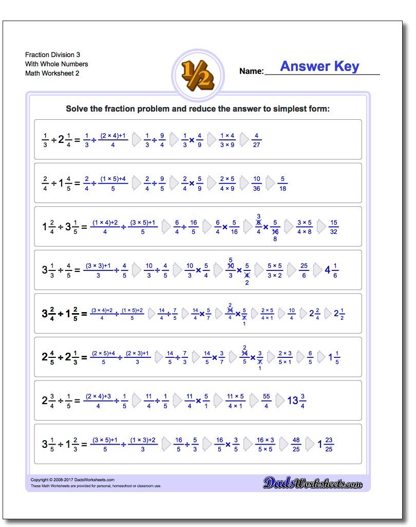 Fraction Worksheet Division Worksheet 3 With Whole Numbers www.dadsworksheets.com/worksheets/fraction-division.html