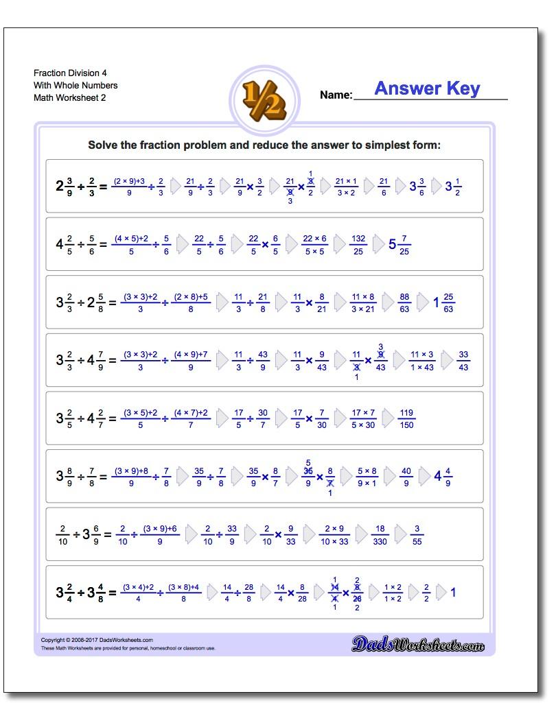 Fraction Worksheet Division Worksheet 4 With Whole Numbers www.dadsworksheets.com/worksheets/fraction-division.html