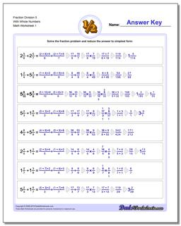 Fraction Worksheet Division Worksheet 5 With Whole Numbers Dividing Fractions