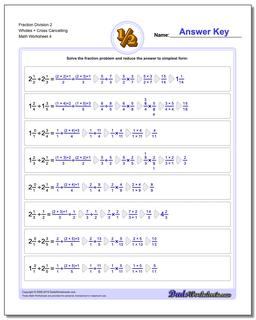 Fraction Worksheet Division Worksheet 2 Wholes + Cross Cancelling