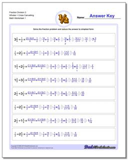 Fraction Worksheet Division Worksheet 3 Wholes + Cross Cancelling Dividing Fractions