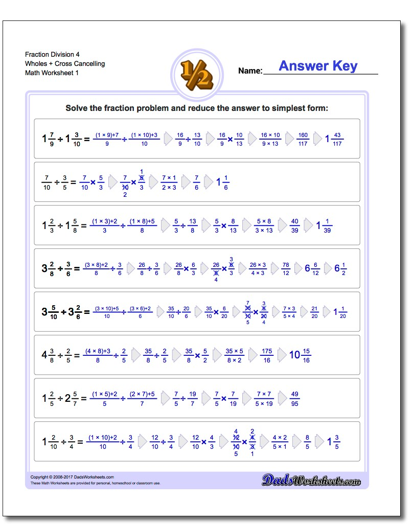 Fraction Worksheet Division Worksheet 4 Wholes + Cross Cancelling Dividing Fractions