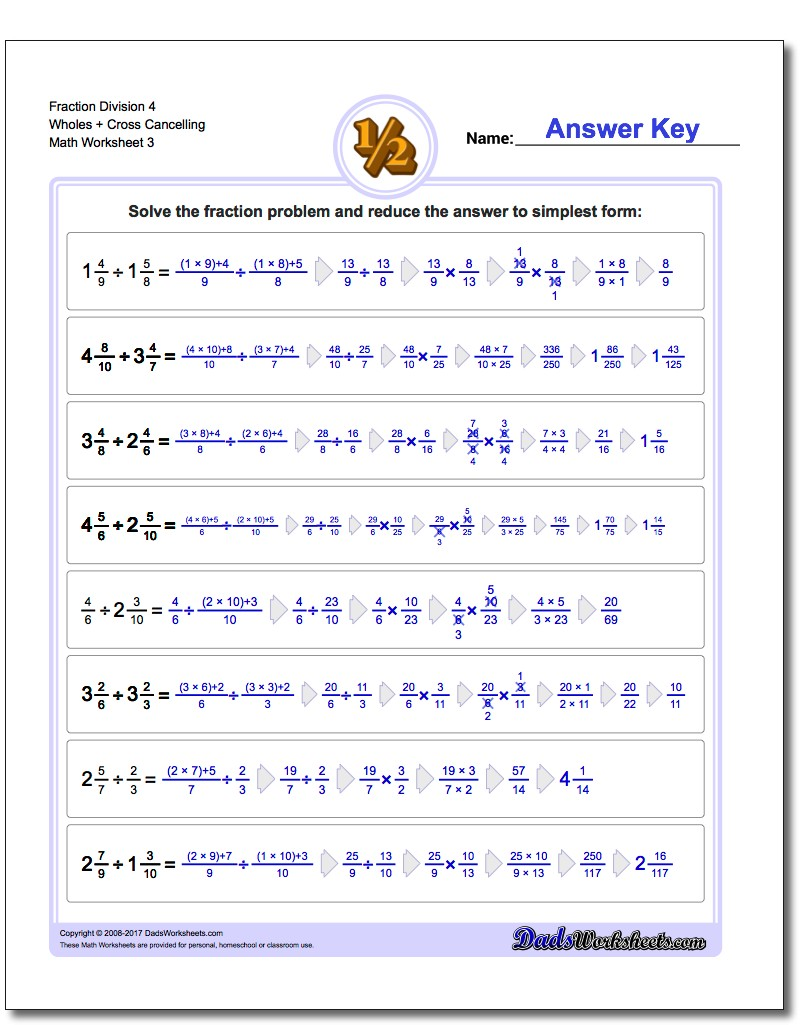 Fraction Worksheet Division Worksheet 4 Wholes + Cross Cancelling