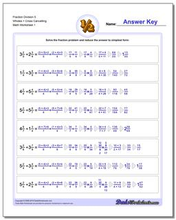 Fraction Worksheet Division Worksheet 5 Wholes + Cross Cancelling Dividing Fractions