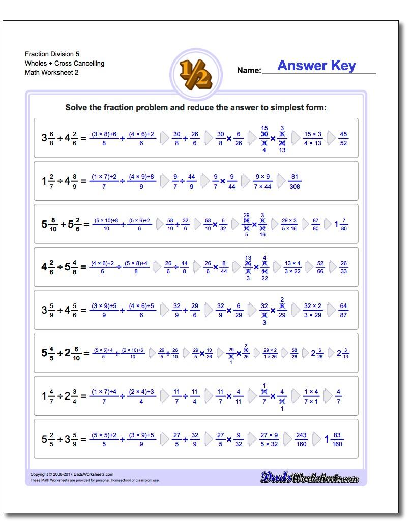 Fraction Worksheet Division Worksheet 5 Wholes + Cross Cancelling www.dadsworksheets.com/worksheets/fraction-division.html