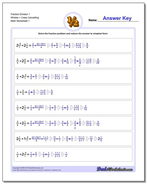 fraction division  fraction worksheets division worksheets full