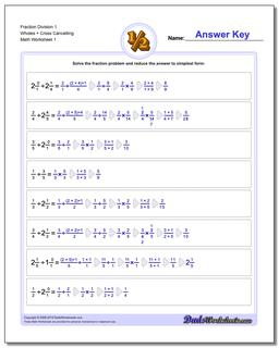 Fraction Worksheet Division Worksheet 1 Wholes + Cross Cancelling Dividing Fractions