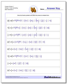 Fraction Worksheet Division Worksheet 1 Wholes + Cross Cancelling