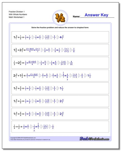 Fraction Worksheets Division Worksheets with Wholes